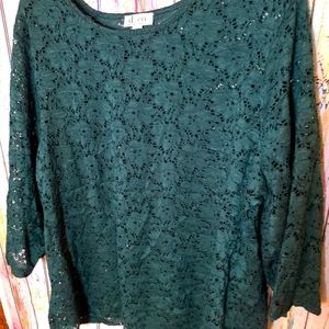 *3/20 Denim & Co Lace Overlay Top, Size 2X